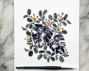 MONSTERA Berries and Flora 8x10 // Art WATERCOLOR Ink Print Garden Leaves Indoor PLANT Bouquet Paynes Gray
