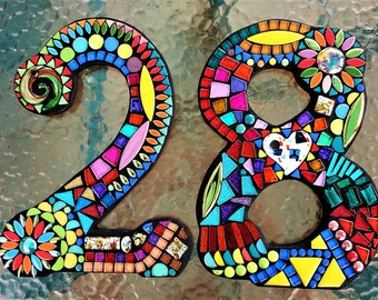 "MOSAIC HOUSE NUMBERS - 11"" Tall - Customizable - Mixed Media  - Your Color Choice  - Order Your 11"" Size Numbers From This Listing / Ooak!"