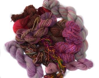 Mixed fiber bundle - yarn - weaving - knitting - scraps - 100g / 3.5oz - TWIDDLY BITS