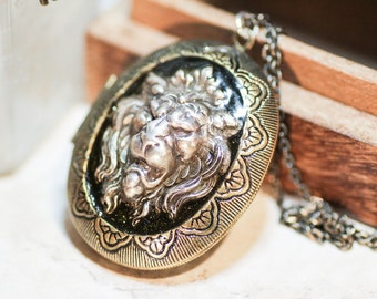 Lannister Lion Locket Game of Thrones Inspired Antique Brass Locket with Silver plated Lion on Antique Brass Chain - Cersei