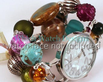 Winter Berry.. Gorgeous Champagne, Wine, Olive, and Teal Chunky Interchangeable Beaded Watch Band