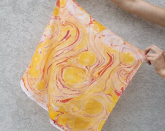 Yellow and Orange Hand-Marbled Silk Square Scarf