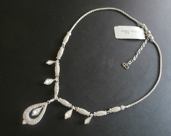 Christian Dior Signed Rhodium Plated with Crystals Necklace with Removable Pendant