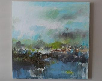 landscape,Teal,Light Blue abstract  painting ,original abstract art ,modern abstract art Canvas Wall art - contemporary art