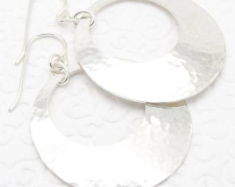 Medium Large Hammered Disc Earrings in Sterling Silver with Peephole