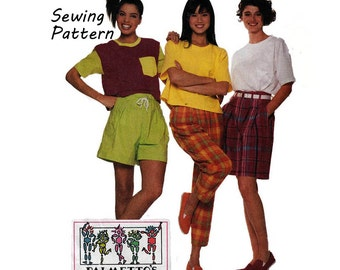 """McCall's 4159 Womans' Casual T-Shirt Top, Pants, Coulotte and Shorts Sewing Pattern Size 8 Bust 31.5""""/ 77.5cm Vintage 1980's UNCUT"""