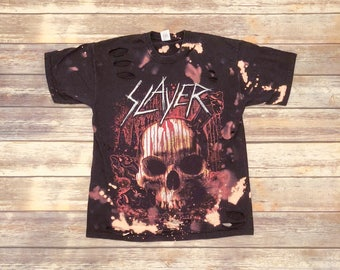 Slayer, MEDIUM, black concert tee shirt that has been bleached and distressed for a vintage/grunge look.