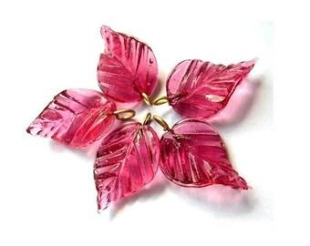 7 Vintage glass dangling beads leaf shape translucent pink , 27mm X15mm