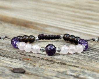 Amethyst, Rose Quartz, Smoky Quartz, Meditation Bracelet, Yoga Bracelet, Crystal Healing Bracelet, Intent, Adjustable Wrist Mala, Fertility