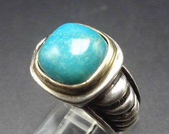 Vintage TURQUOISE Sterling Silver 925 & 14K GOLD Joseph Esposito RING, size 5