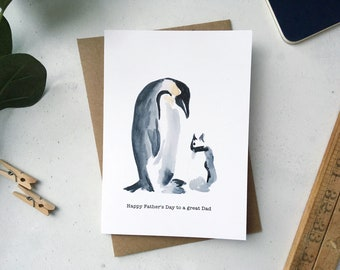 Fathers Day Card, Penguin card for Fathers Day, Card for Dad, Watercolour Illustration, Card for Daddy, Big Penguin Baby Penguin