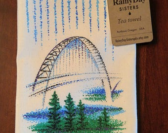 Fremont Bridge Tea Towel artistic locally NW illustrated kitchen and home use Fine Gifts