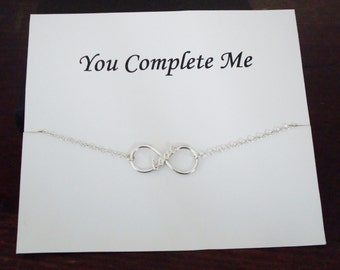 Love Infinity Charm Silver Bracelet ~~Personalized Jewelry Gift Card for Best Friend, Sister, Mom, Daughter, Bridal Party, Wife, Graduation