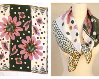 Mod floral scarf / 60s 70s scarf / avocado pink polka dots mustard trim / hand rolled edges / Argentina