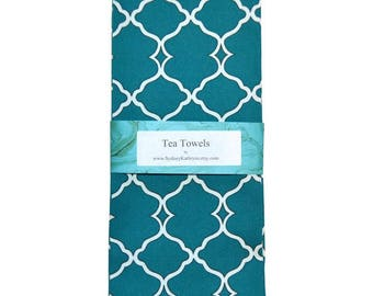 Tea Towels, Blue and White TeaTowels, Teal Green Blue Tea Towels, Set of 2, Decorative Kitchen Towels