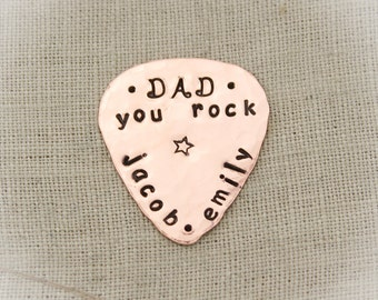 Father's Day Guitar Pick Personalized Hand Stamped Dad or Grandpa Copper, Brass, Aluminum, Sterling Silver
