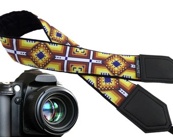 Ethnic Camera strap.  Inspired by American Indians. White, yellow, caramel. DSLR / SLR Camera Strap. Camera accessories by InTePro