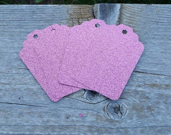 Light Pink Extra Large gift Tags: 5, 12 or 100 Pink Glitter Cardstock Gift Tags 3 inch birthday party favor - wedding bridal new baby shower