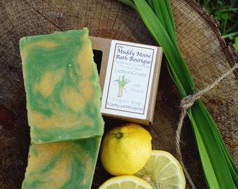Lemongrass Soap - Lemongrass - Essential Oil Soap - Vegan Soap - Vegan Soap Bar - Vegan Skincare  - Natural Soap - Hemp Oil Soap - 4 BARS
