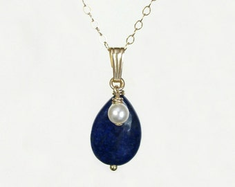 Lapis Lazuli necklace, Something Blue, Lapis Lazuli, Blue gemstone necklace, Blue Lapis, Delicate necklace for women, Girlfriend gift  N-079