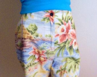 Hawaiian shorts, linen shorts, high waisted shorts