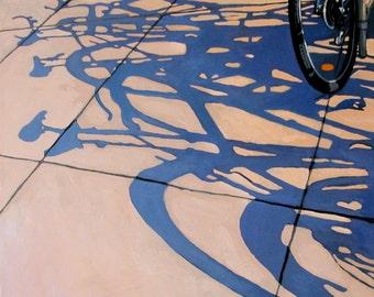 The Gathering - BICYCLE cycling art  bike shadows city scene print of original painting