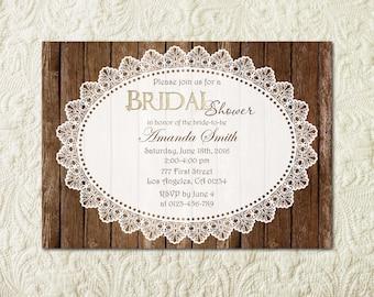 Rustic Bridal Shower Invitation, Wood Bridal Shower Invitation, Country Bridal Shower, Vintage Bridal Shower, Country Western Invite