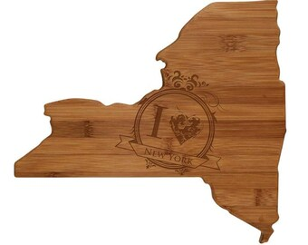 Engraved New York Cutting Board - New York Shaped Bamboo Cutting Board Custom Engraved - Wedding Gift, Couples Gift, Housewarming Gift