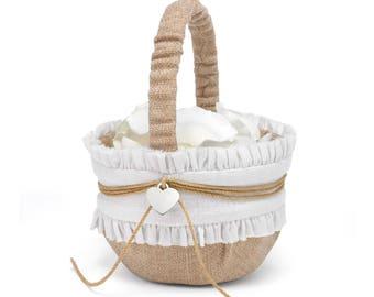 Rustic Wedding Flower Basket, Flower Basket For Wedding, Flower Basket Wedding, Rustic Wedding Burlap Flower Basket, Flower Girl Basket