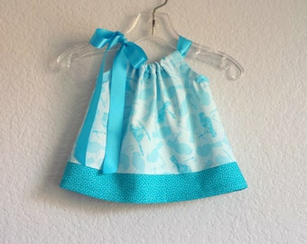 Baby Girls Turquoise Pillowcase Dress - Blue Birds and Polka-Dots - Infant Sun Dress and Bloomers Outfit - Size Nb, 3m, 6m, 9m, 12m or 18m