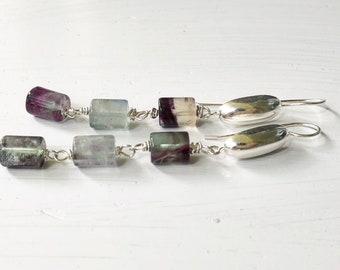Long Sterling Silver Earrings /Fluorite Earrings / Boho jewelry