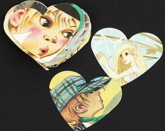 Children Paper Hearts- 50 children's book vintage, kids book hearts, Valentines Day decorations, birthday party decorations, table confetti