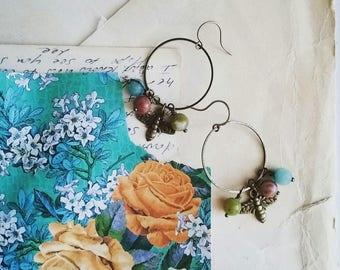 Bee Earrings, Colorful Beaded Hoop Eaarings, Boho Bee Dangle Earrings, Vintage Style Jewelry For Women