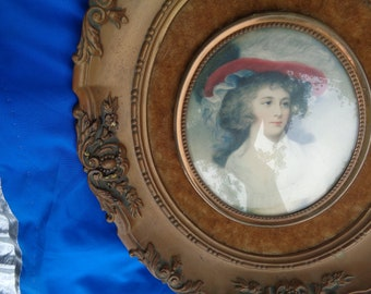 Vintage Gold Syroco Style Framed Cameo Creation, Miss Tickle by George Romney