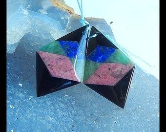 Rhodonite,Amazonite,Lapis Lazuli,Obsidian Intarsia Earrings Beads,32x20x4mm,6.8g (E9583)