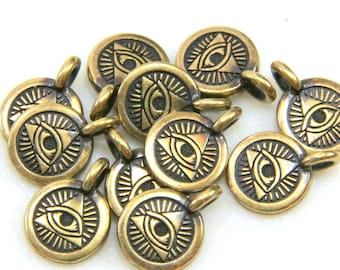 TierraCast The Eye Of Providence Symbol Charm,  Divine Providence Charms, Jewelry Findings, Antiqued Brass, 4 or More Pcs, 0527