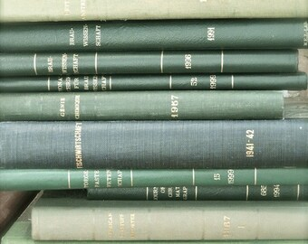 """Book Photography, Book Art, Green Book Print, Shabby Cottage Chic Art, Rustic Decor, Library Office, Vintage Book Art- """"Green Library"""""""