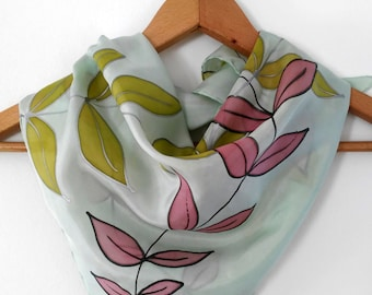 Unique hand painted square silk scarf , Neck silk scarf - AnaSilkDesign