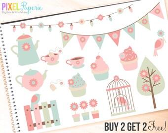 spring garden clip art clipart party tea birds flowers - Garden Party Clipart - BUY 2 GET 2 FREE