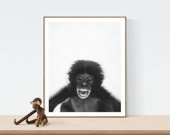 Chimp Print, Baby shower gift, Printable Wall Art, Cute chimp print, Nursery Decor, Black and White Photography, kids room, art prints, ape