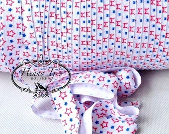 """Sterne rot / weiß / blau Falten über elastische 4. Juli gedruckten FOE - 5/8"""" 2, 5, 10 Yards. DIY Stirnband Supplies"""