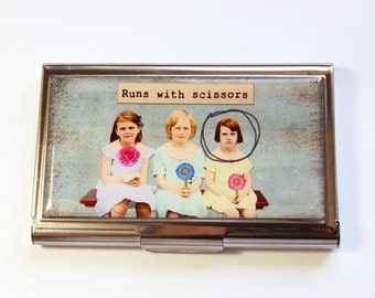Business Card Case, Runs with scissors, Card case, business card holder, Case, Funny Card Case, Humor (2960)