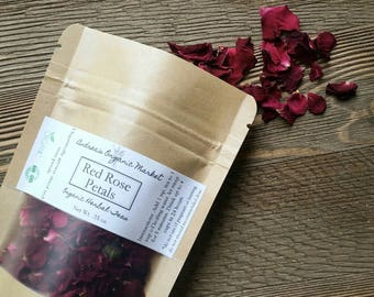 Organic Red Rose Petals, Fresh Dried Roses, Herb For Tea, Herbal Loose Leaf Tea, Organic Dried Herbs, Natural Tea, Organic Rose Petals