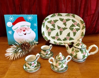 Miniature Teapot Play Set Holly Berries Christmas Gift Dollhouse Tea Party Cups Whimsical Kitchen Holiday Ceramic Winter Alice in Wonderland