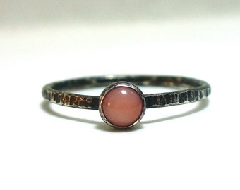 Tiny Pink Coral - Blackened, Rustic, Dainty Stacking Ring - Fine and Sterling Silver