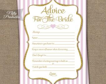 Bridal Shower Advice Cards - Pink & Gold Bridal Shower Games - Instant Download - Printable Pink White Bridal Advice Card - PGL