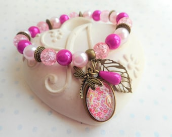 """Bracelet 18 X 13 mm vintage glass beads and cabochon """"arabesque fuchsia and yellow"""" bronze, pearls, butterflies, leaves, charms"""
