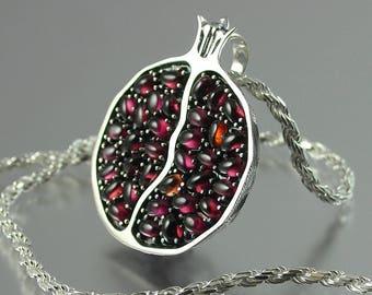 JUICY POMEGRANATE silver garnet pendant - Ready to ship