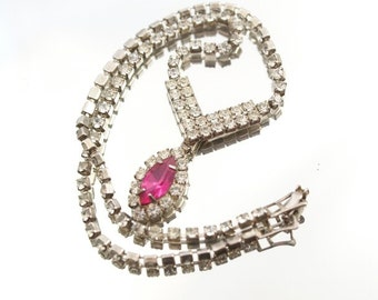 Vintage Pink Fuschia Rhinestone Necklace Choker  Wedding Bridal Formal