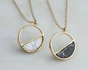 Gold Marble Moon Pendants, Full Moon Half Moon Necklaces, Black Stone Circle Necklace, Hoop Necklace, Turquoise Blue Moon Necklace Stone